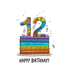 12th anniversary celebration greeting card vector