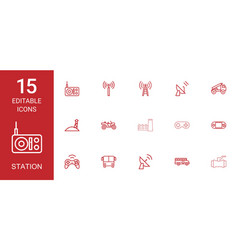 15 station icons vector image