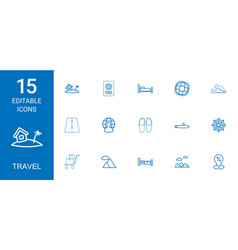 15 travel icons vector