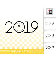 2019 new years eve simple black line icon vector image