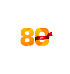 80 years anniversary celebration yellow with red vector