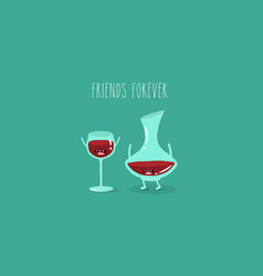 A glass of wine and wine glass friends vector