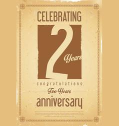 Anniversary retro background 2 years vector