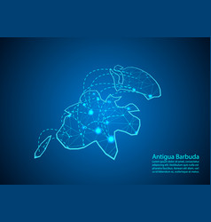 antigua barbuda map with nodes linked by lines vector image