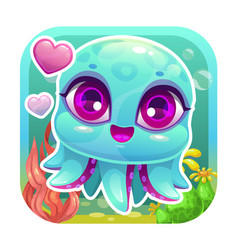 App icon with funny cartoon little baby octopus vector