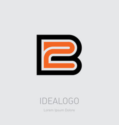 B and 2 initial logo b2 initial monogram logotype vector