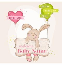 Baby girl arrival card - with cute bunny vector