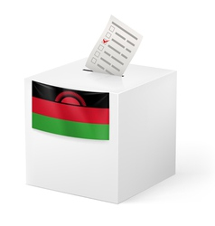 Ballot box with voting paper Malawi vector