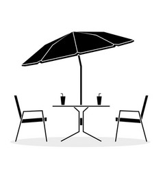 Black and white drawing cafe table and two chairs vector