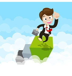 Businessman jumping with joy on green step ovet vector image