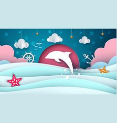 cartoon sea dolphin cloud star vector image