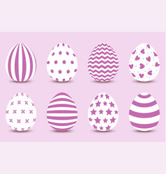 cartoon set of easter painted eggs vector image