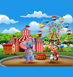 circus ringmaster performs a trick along with elep vector image
