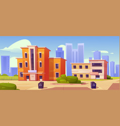 city houses street with low residential buildings vector image