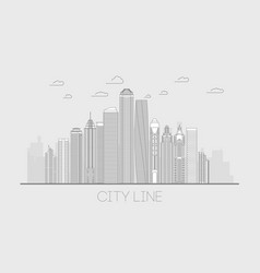 city line panorama cityscape line vector image