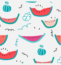 Cute hand drawn watermelon pattern vector