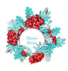 cute round frame decorated with rowan berries vector image