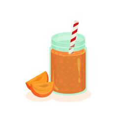 delicious fruit smoothie in glass bank with vector image