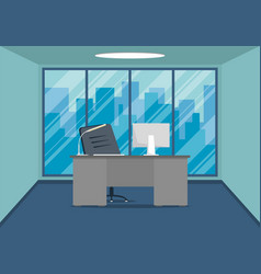 design of modern office design workplace with vector image
