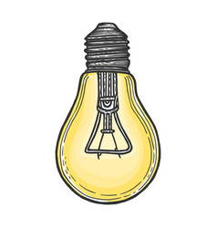 electric lamp sketch engraving vector image