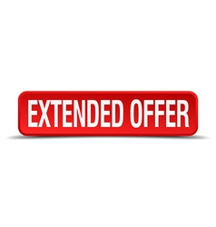 Extended offer red 3d square button isolated on vector
