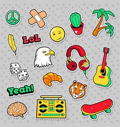 fashion badges patches stickers hippie vector image