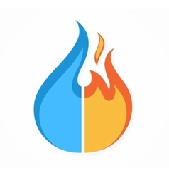 fire and water logo or icon vector image