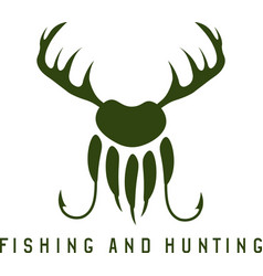 fishing and hunting with deer hornspaw bear and vector image