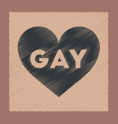 Flat shading style icon heart gays vector