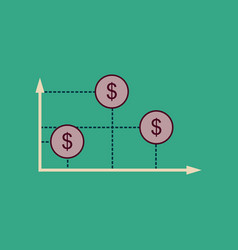 Flat web icon on stylish background money graph vector