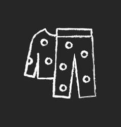 fleece pyjamas chalk white icon on dark background vector image