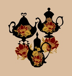 Flower Coffeepots vector