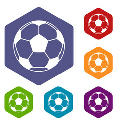 Football or soccer ball icons set hexagon vector