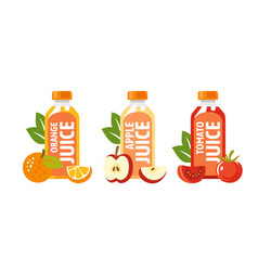 fruit and vegetable juices in flat style vector image