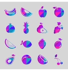 Fruit colorful icon set vector