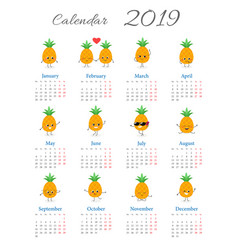 Funny calendar 2019 with pineapples vector