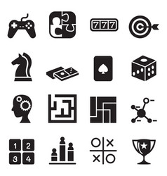 Game puzzle dice maze jigsaw slot machine icons vector