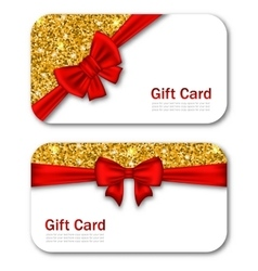 Gift Cards with Red Bow Ribbon and Golden Sparkles vector