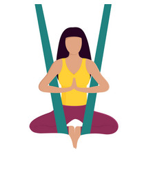 Girl doing aerial yoga healthy lifestyle vector