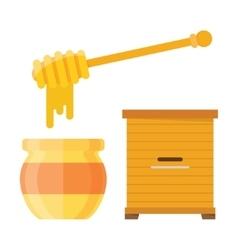 Glass jar of honey with wooden drizzler vector image