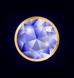 gold-rimmed diamond on a dark background vector image