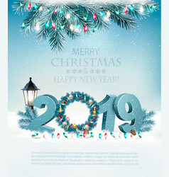 happy new year 2019 background with garland and vector image
