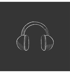 Headphone Drawn in chalk icon vector image