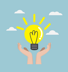 human hand with bulb idea vector image