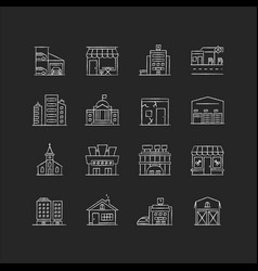 Industrial buildings fronts chalk white icons set vector
