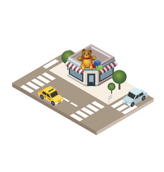 Isometric city childish gifts and toys shop geo vector