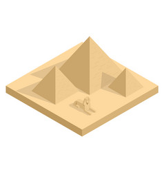 Isometric great sphinx including pyramids vector