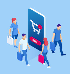 isometric online shopping concept people shop vector image
