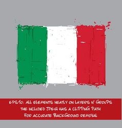 Italian flag flat - artistic brush strokes and vector