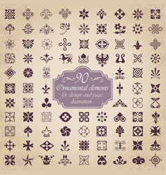 large set of calligraphic ornamental elements vector image
